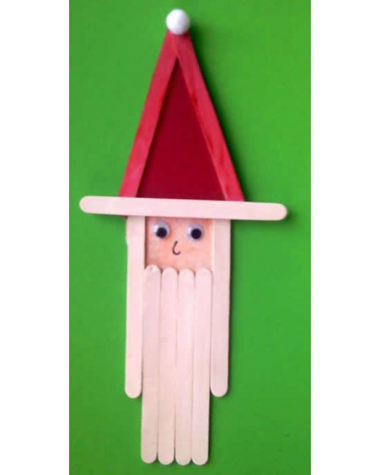 Papai Noel fofinho com palitos de picolé