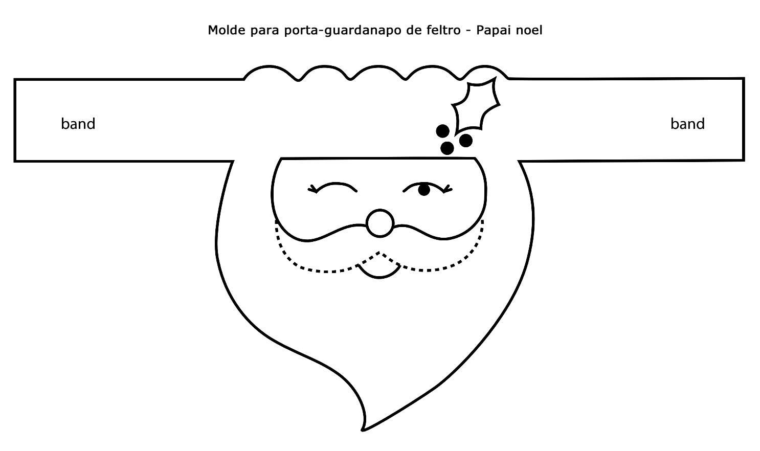 Molde de Papai Noel para porta-guardanapo