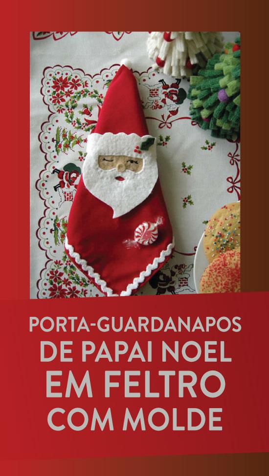 Porta-guardanapo de Papai Noel em feltro para Natal