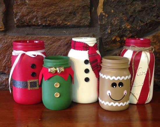 Enfeites com potes decorados para o Natal