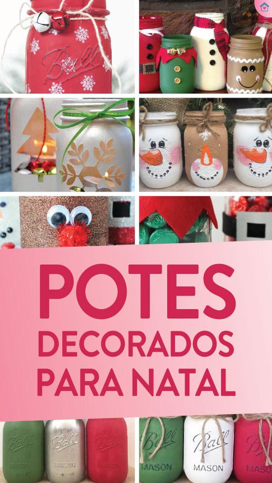Potes decorados para enfeites de Natal