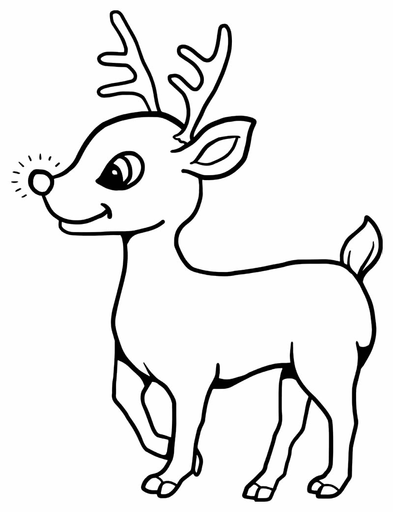 Lindo desenho de rena para imprimir e colorir