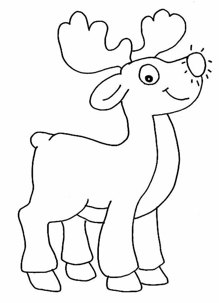 Desenho de rena super linda para colorir e pintar