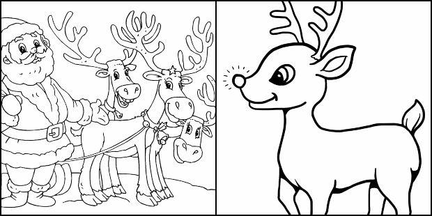 Desenhos de rena de Natal para colorir