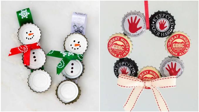 Enfeites de Natal com tampinhas