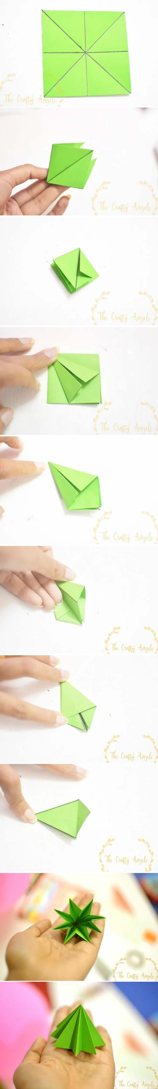 Árvore de Natal de papel com origami