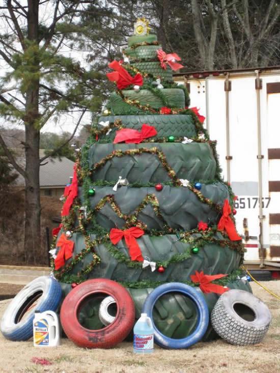 Ideia para Árvore de Natal com pneus