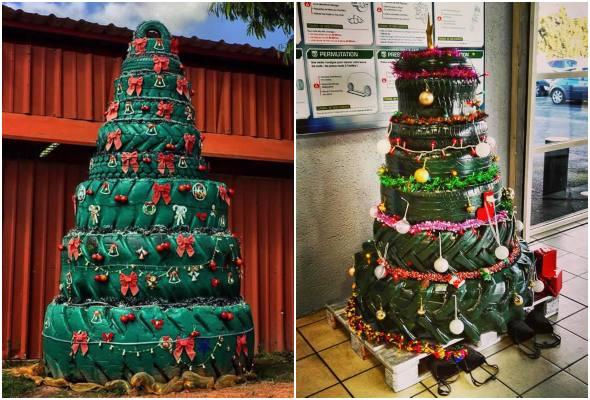 Árvores de Natal com pneus velhos para decoração