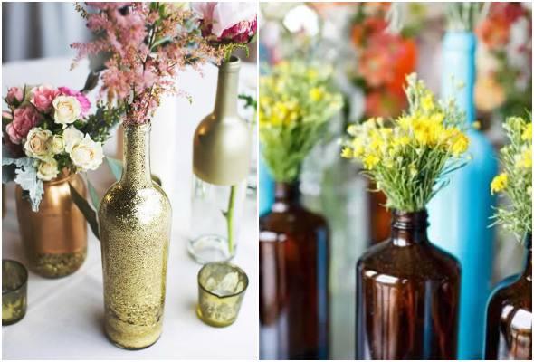 50 ideias para centro de mesa com garrafa de vidro