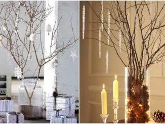 Decoração com galhos secos para Natal