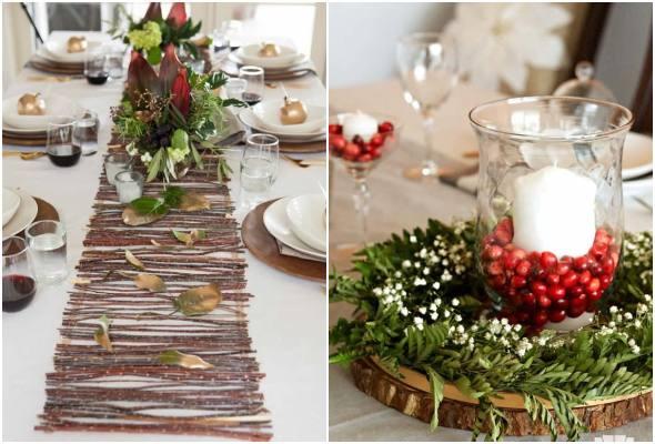 Mesas decoradas para o Natal