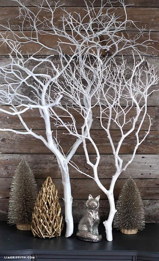 Decoração linda com Árvore de Natal feita com galhos secos