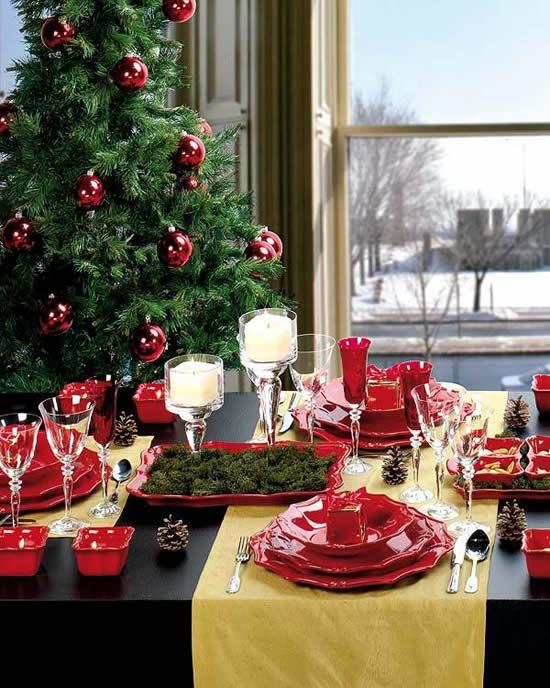 Decoração de mesa de Natal linda