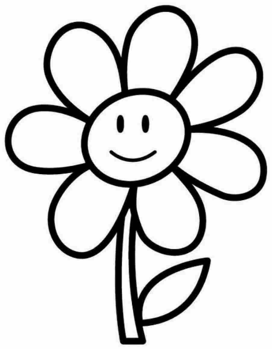 Desenho de flor divertida para colorir com crianças