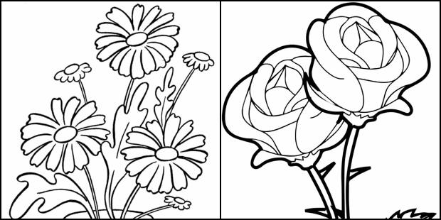 Desenhos de flores para imprimir e colorir