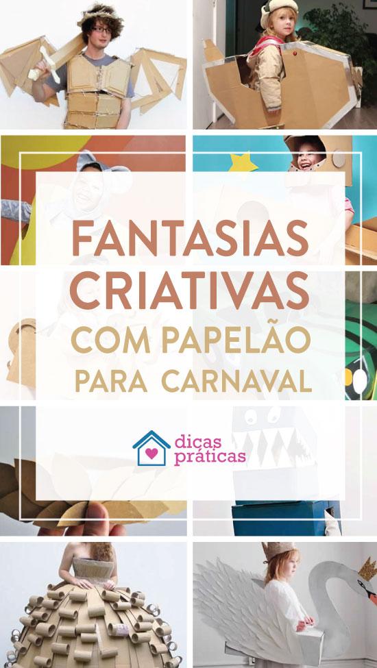 Fantasia criativa com papelão para Carnaval