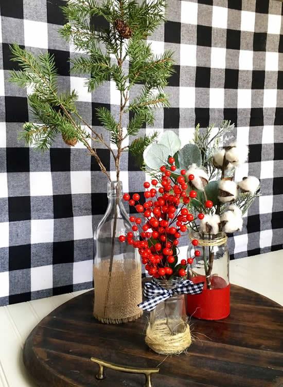 Decoração linda com garrafas de vidro para Natal