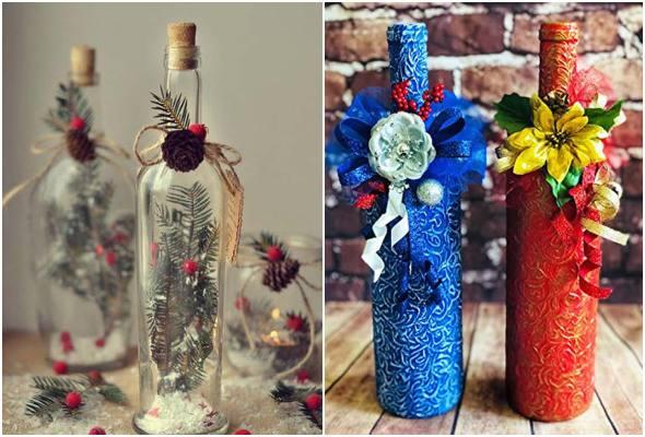 Garrafas decoradas para mesa de Natal