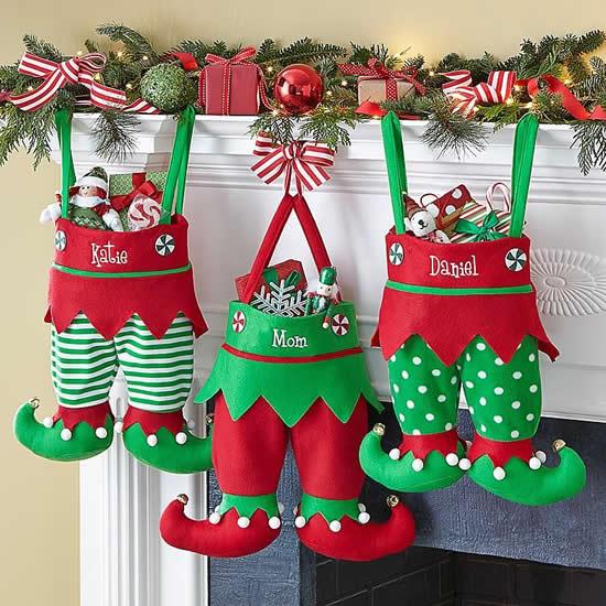 Bonequinhos de Natal com tecido