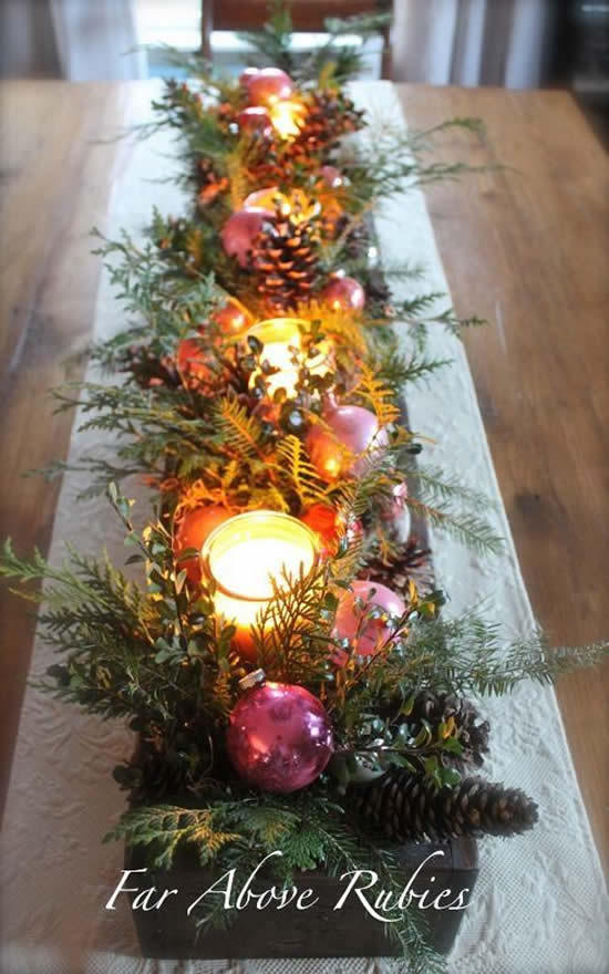 Decoração linda com centro de mesa para Natal