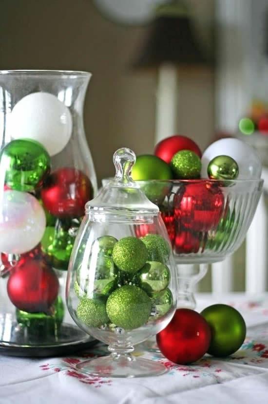 Decoração linda com centros de mesa para Natal