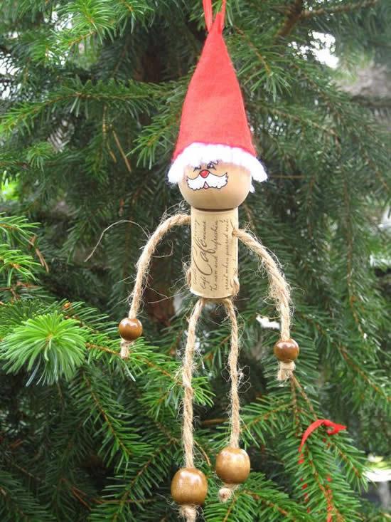 Enfeite de Natal - Papai Noel com rolha