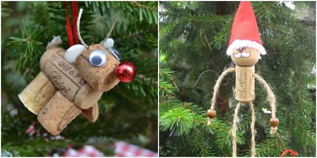 Enfeites para Árvore de Natal com rolhas