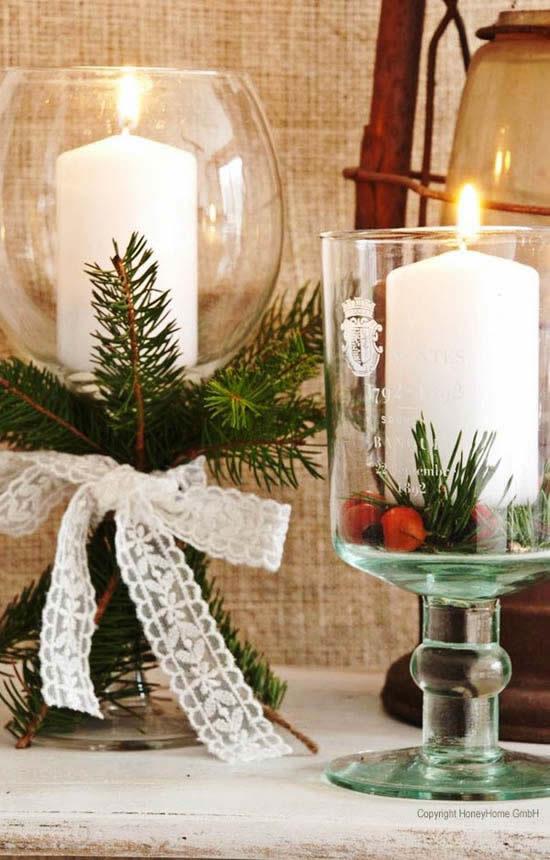 Decoração com vela para Natal