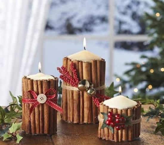 Velas decoradas de Natal com paus de canela