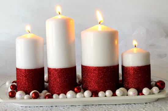 Velas decoradas de Natal com glitter