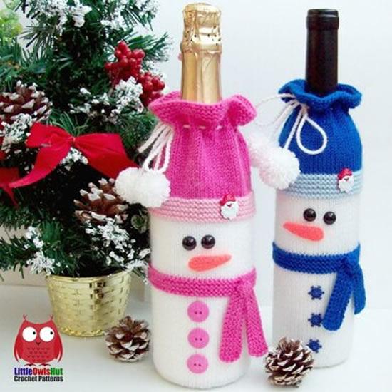 Garrafinhas decoradas de boneco de neve