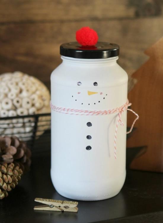 Enfeite com pote - Boneco de neve de Natal