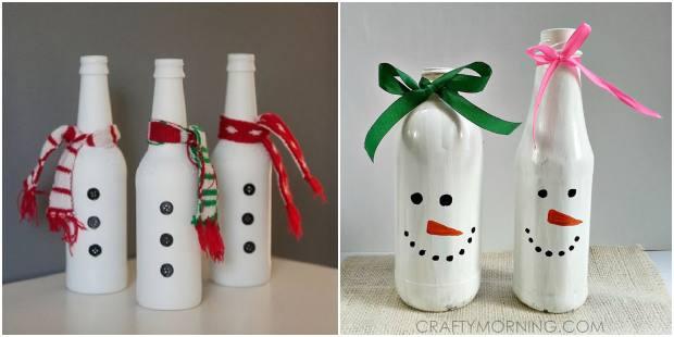 Boneco de neve com garrafas para Natal