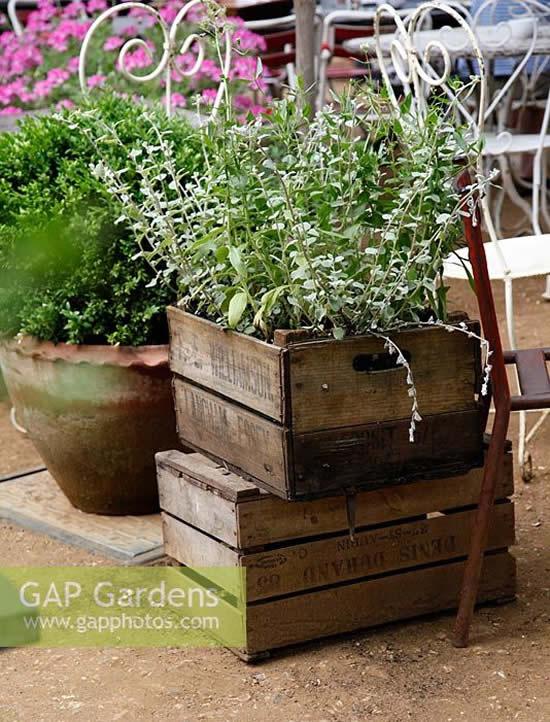 Caixotes de madeira para o jardim
