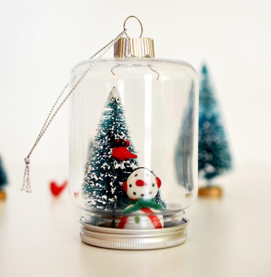 Enfeites de Natal com potes