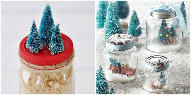 Decoração para Natal com potes de vidro