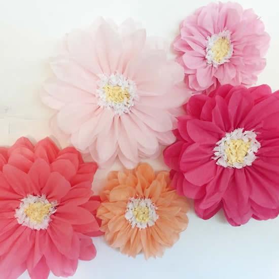 Flor de papel de seda grande para decoração