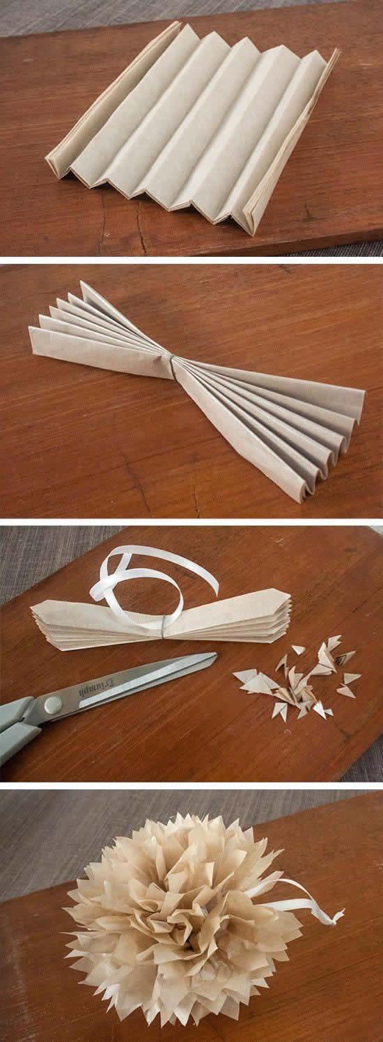 Flor de papel seda para decoração