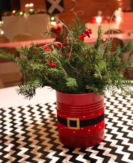Enfeites com latas para Natal
