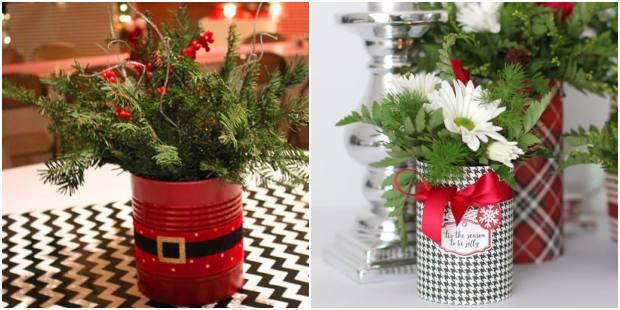 Latas decoradas para decoração de Natal
