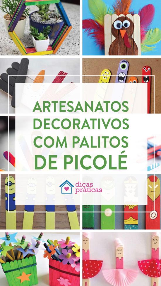 Artesanato decorativo com palitos de picolé