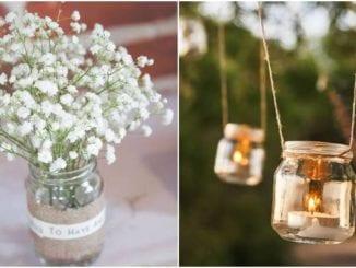 50 ideias de decoração de casamento com vidros reciclados