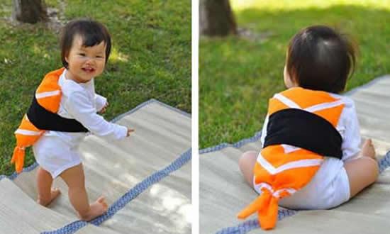 Fantasia de sushi para bebê