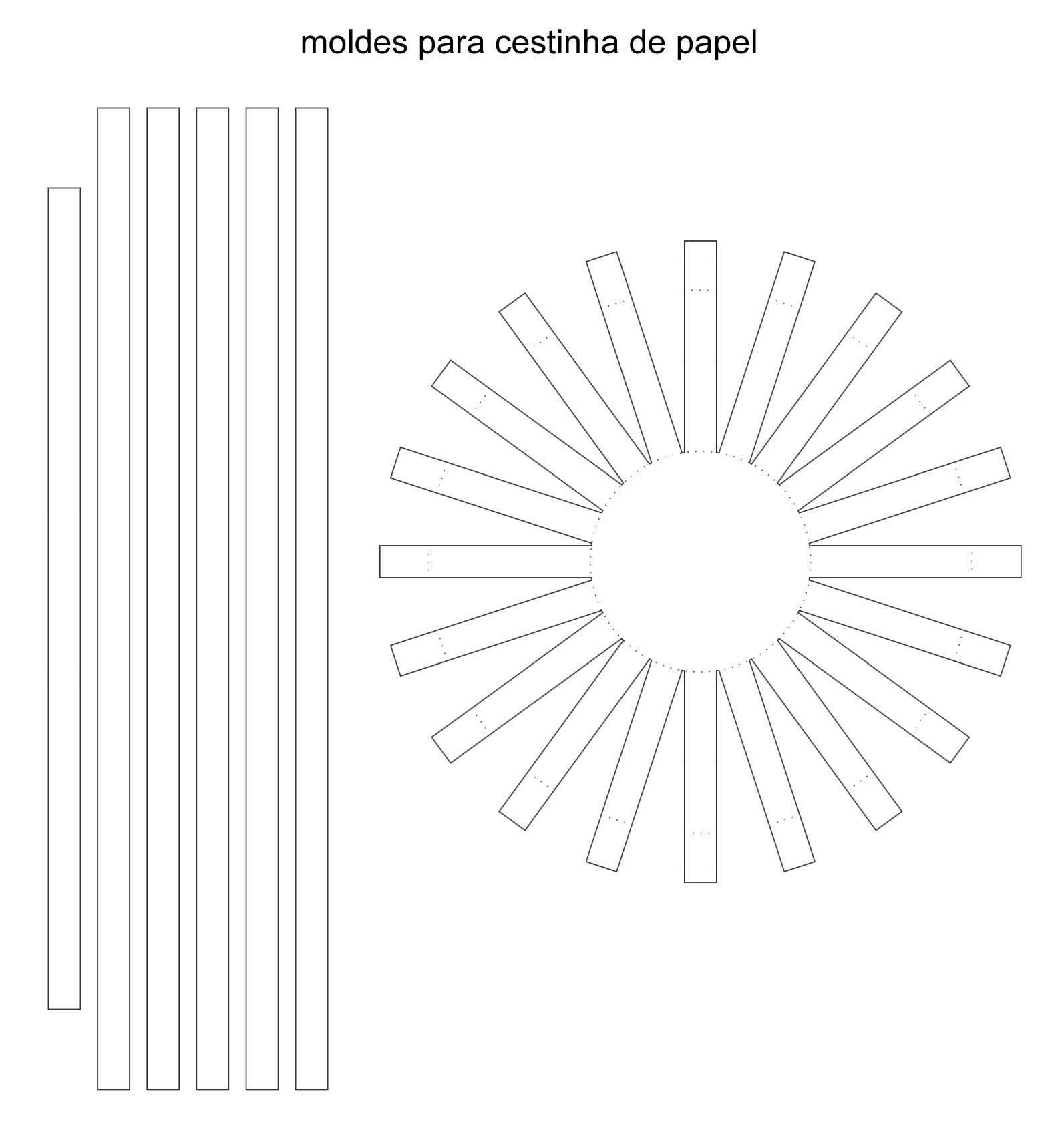 Molde de cestinha de papel para Páscoa