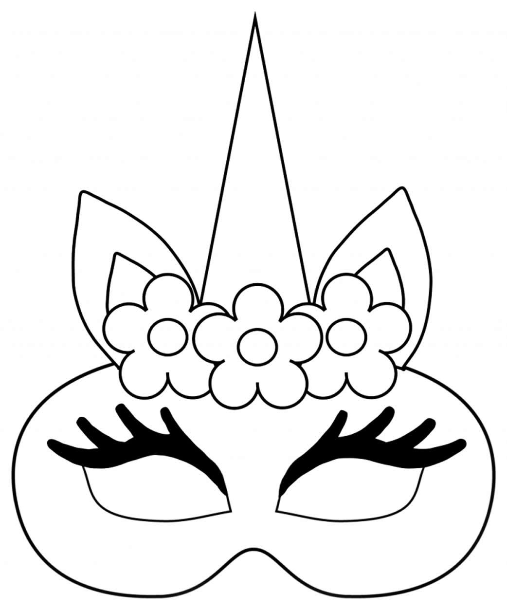 Moldes de máscaras infantis de unicórnio