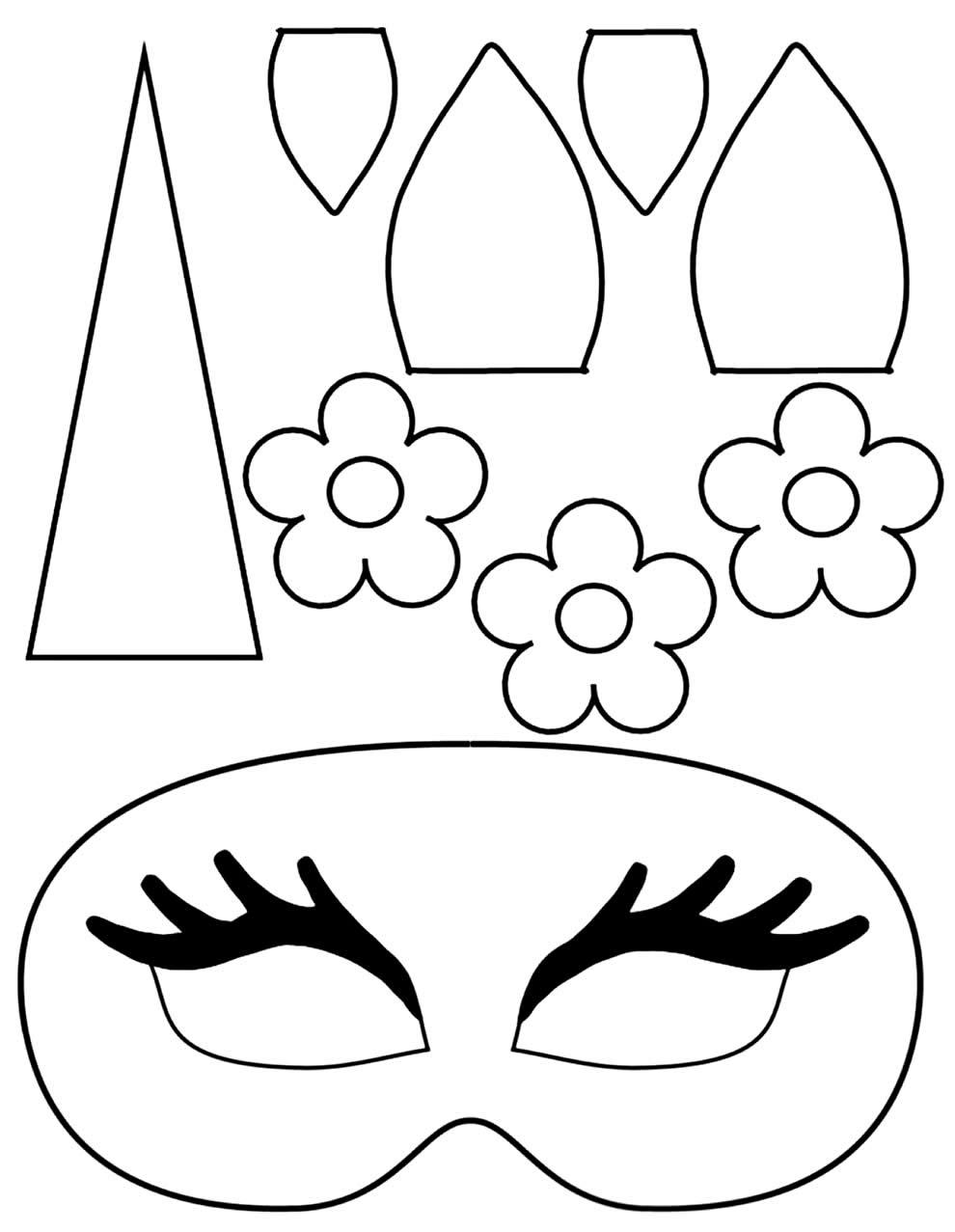 Moldes de máscaras de unicórnio para imprimir