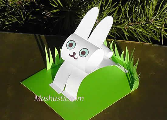 Coelhinho de papel para Páscoa