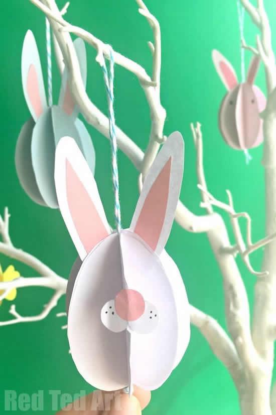 Móbiles de coelhinhos de papel