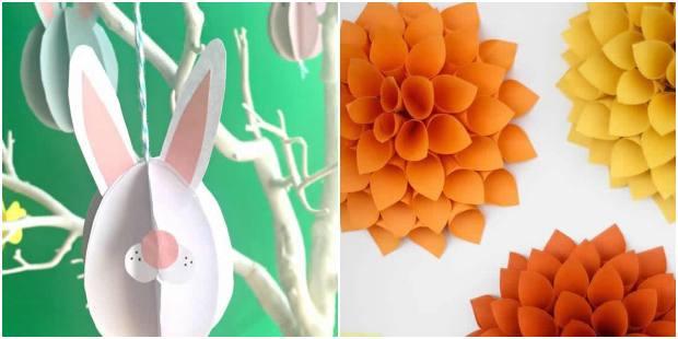 Enfeites com papel para decoração de Páscoa