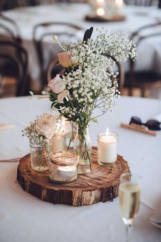 Enfeites lindos para mesa de casamento